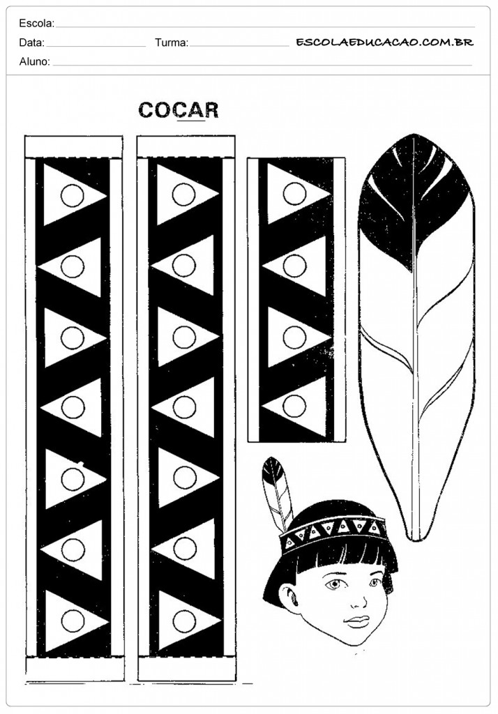 Molde de Cocar de Indio - Use a Imaginação
