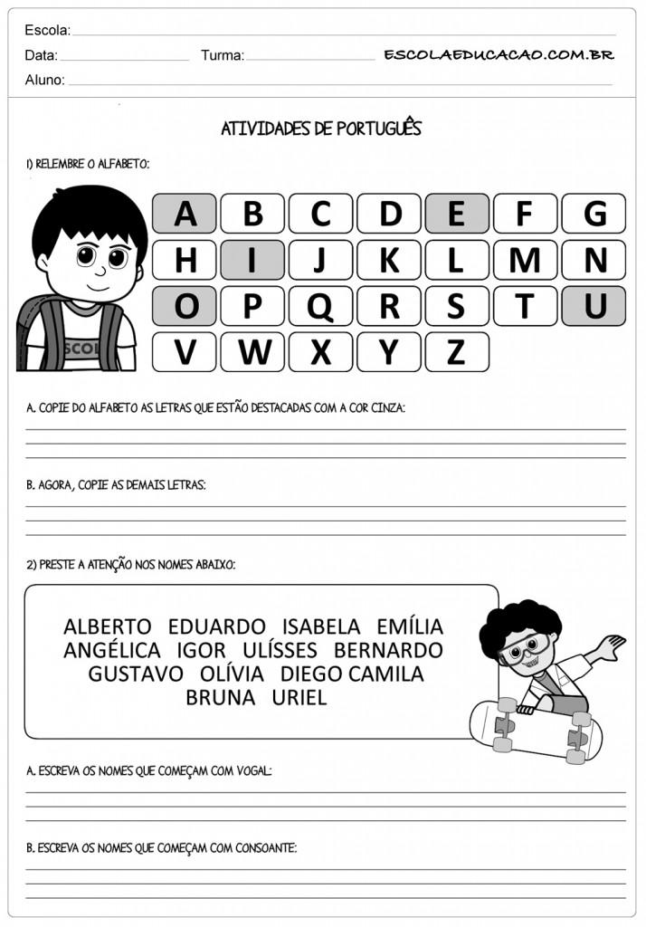 Relembre o alfabeto