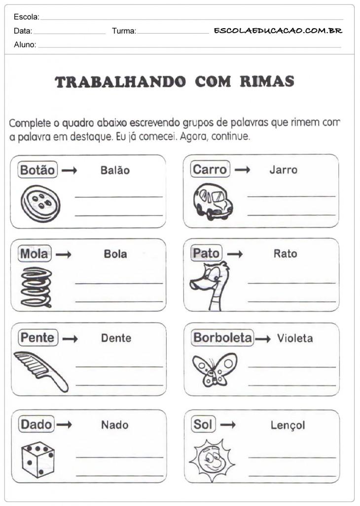 Atividades com Rimas - Para Imprimir - Educação