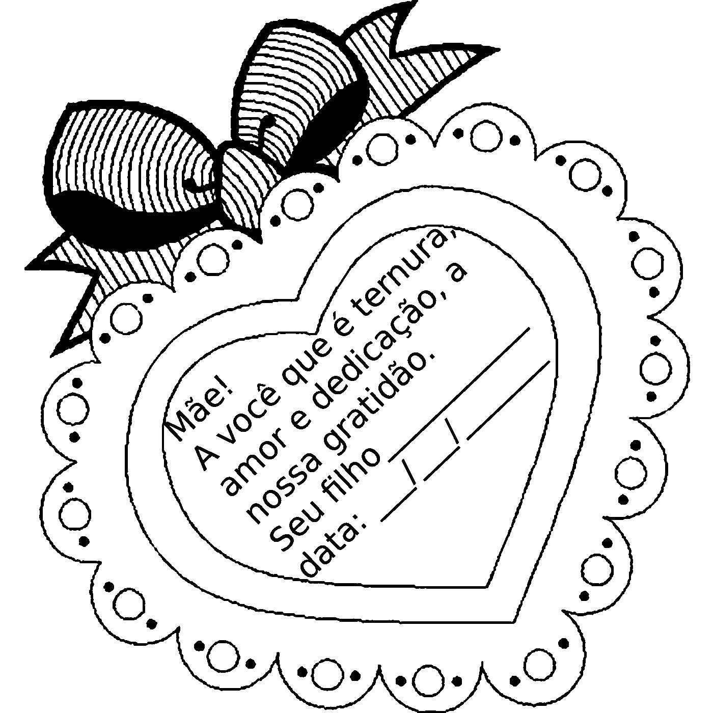 Cartão em forma de coração dia das mães