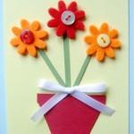 Cartão Flor EVA e Botões