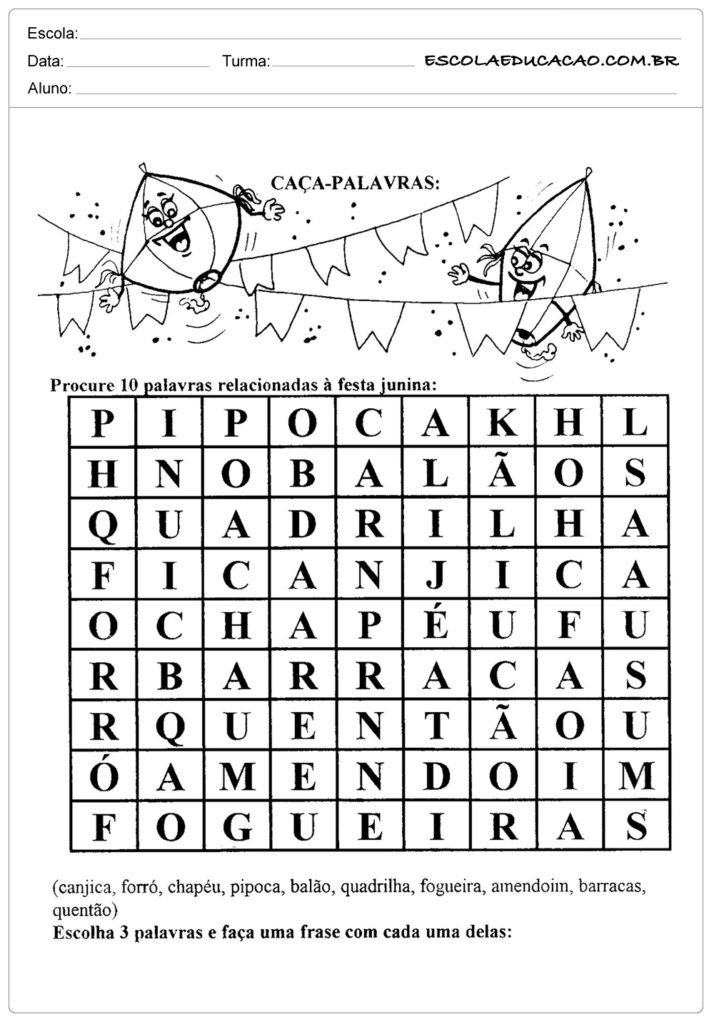 Atividades Festa Junina para Educação Infantil - Caça Palavras