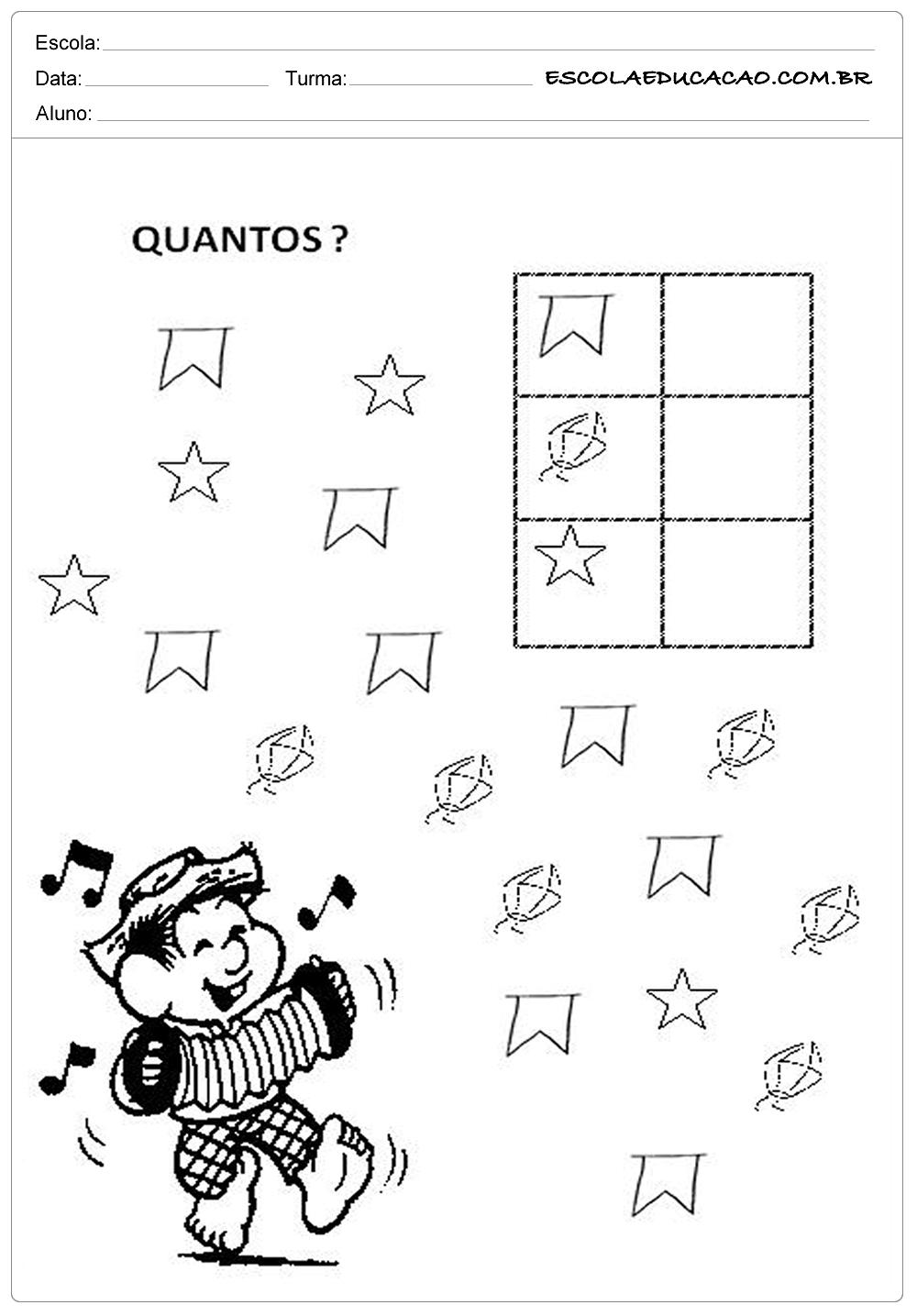 Atividades Festa Junina para Educação Infantil – Coloque a quantidade correta