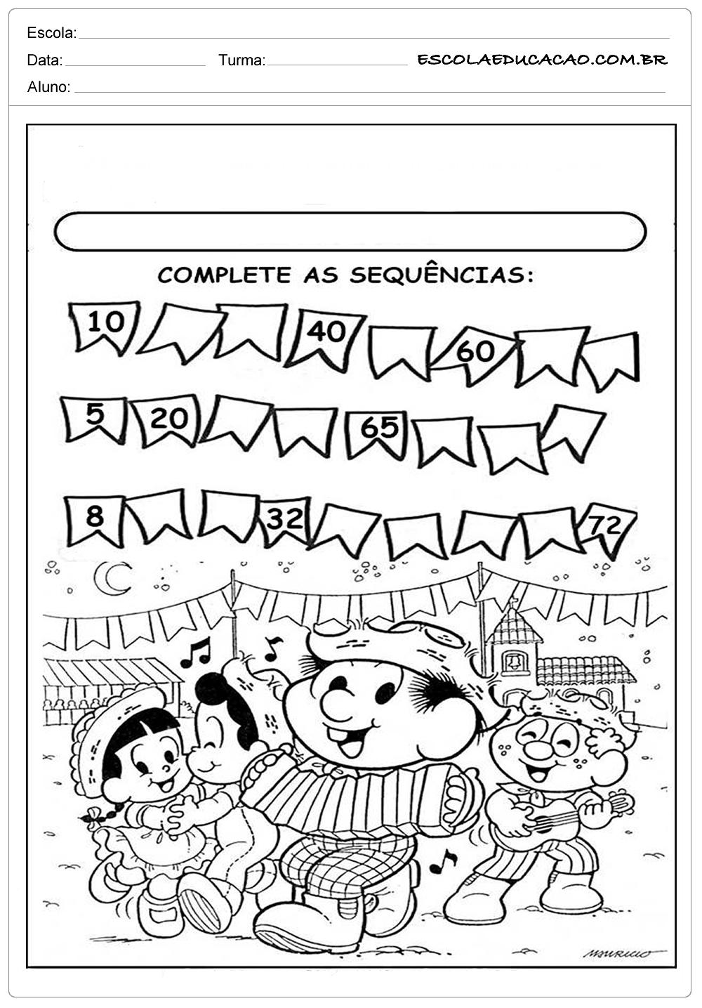 Atividades Festa Junina para Educação Infantil – Complete as sequencias