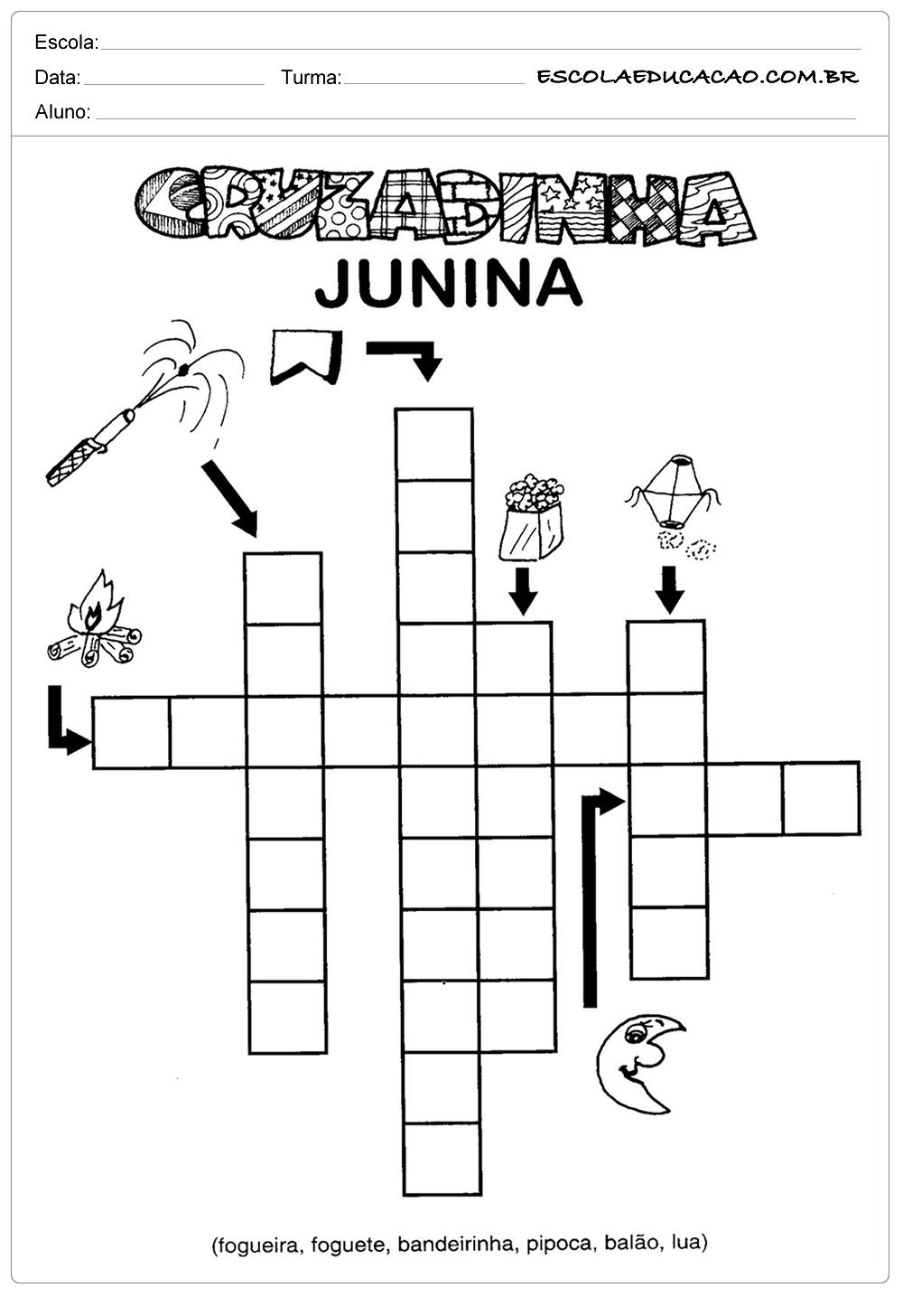 Atividades Festa Junina para Educação Infantil – Cruzadinha junina