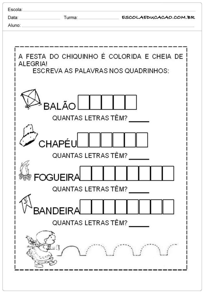 Atividades Festa Junina para Educação Infantil - Festa do chiquinho