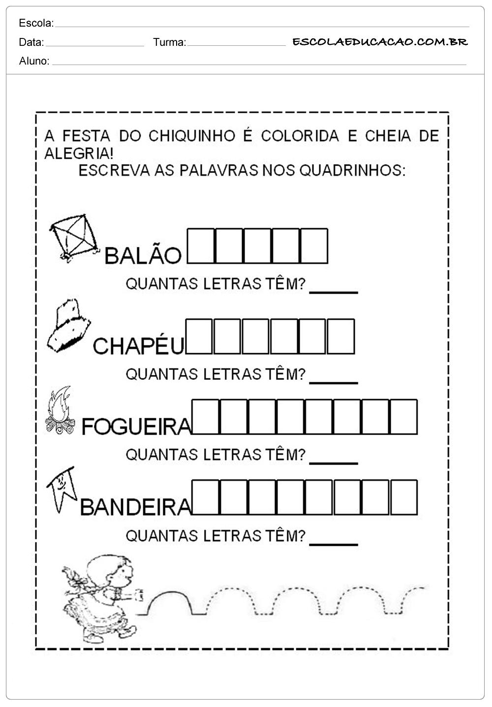 Atividades Festa Junina para Educação Infantil – Festa do chiquinho