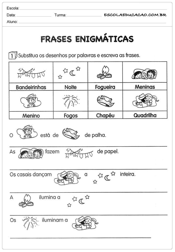 Atividades Festa Junina para Educação Infantil - Frases enigmáticas