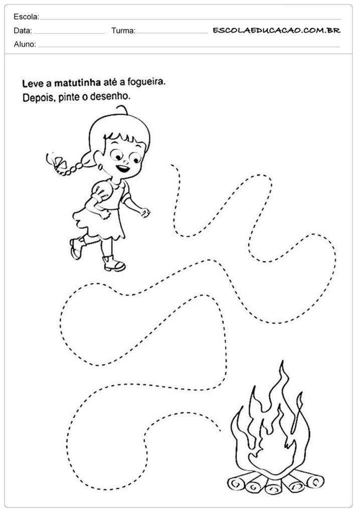Atividades Festa Junina para Educação Infantil - Leve até a fogueira