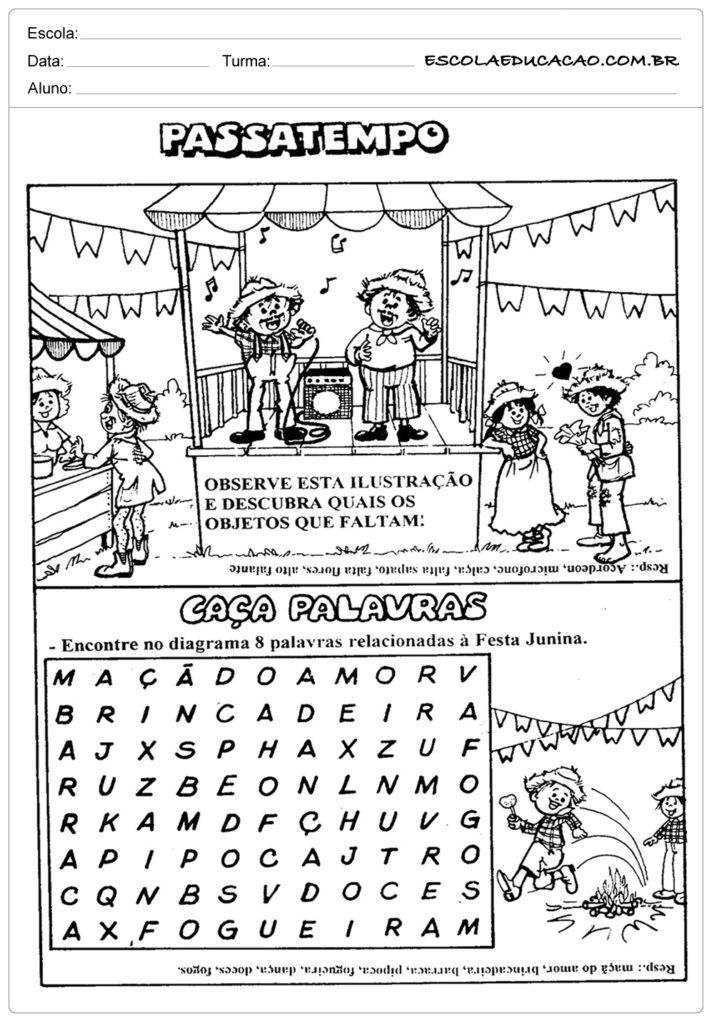 Atividades Festa Junina para Educação Infantil - Passatempo