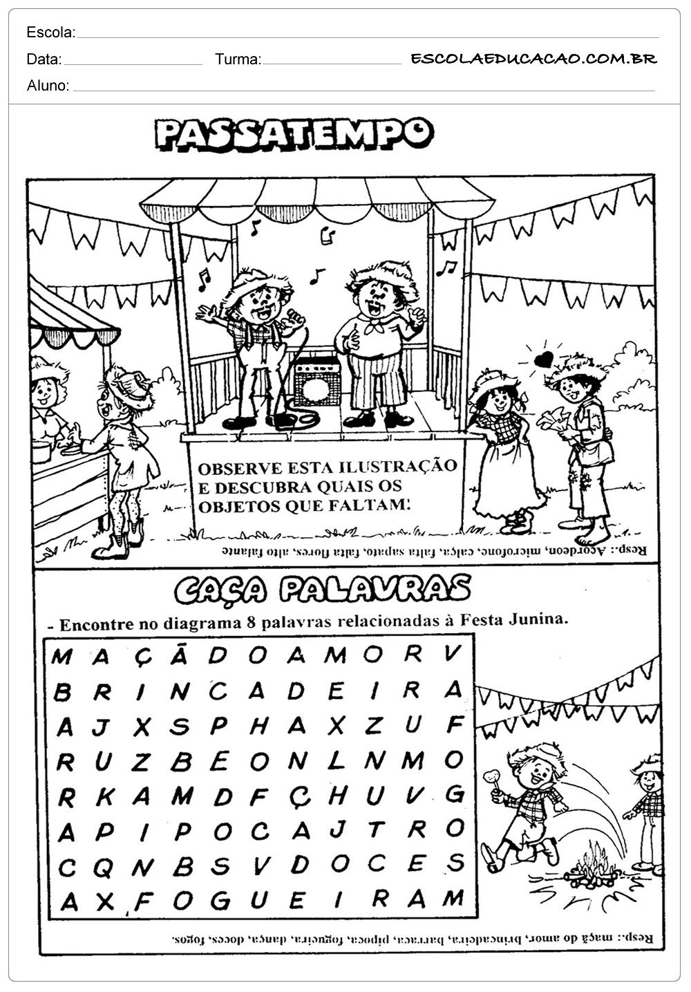 Atividades Festa Junina para Educação Infantil – Passatempo