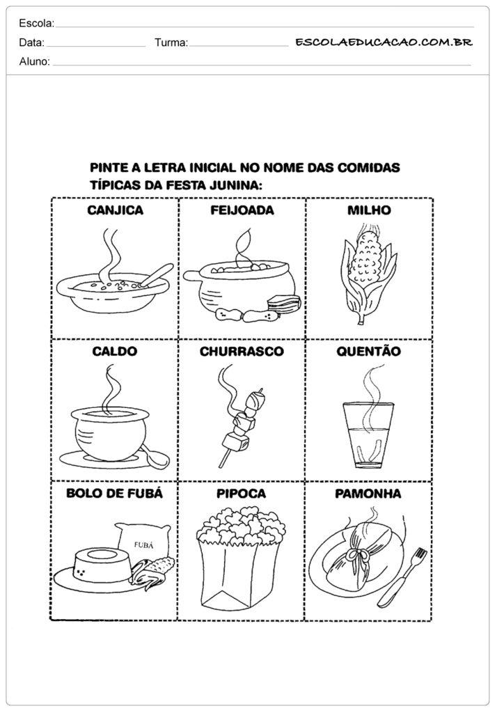 Atividades Festa Junina para Educação Infantil - Pinte as comidas típicas de festa junina