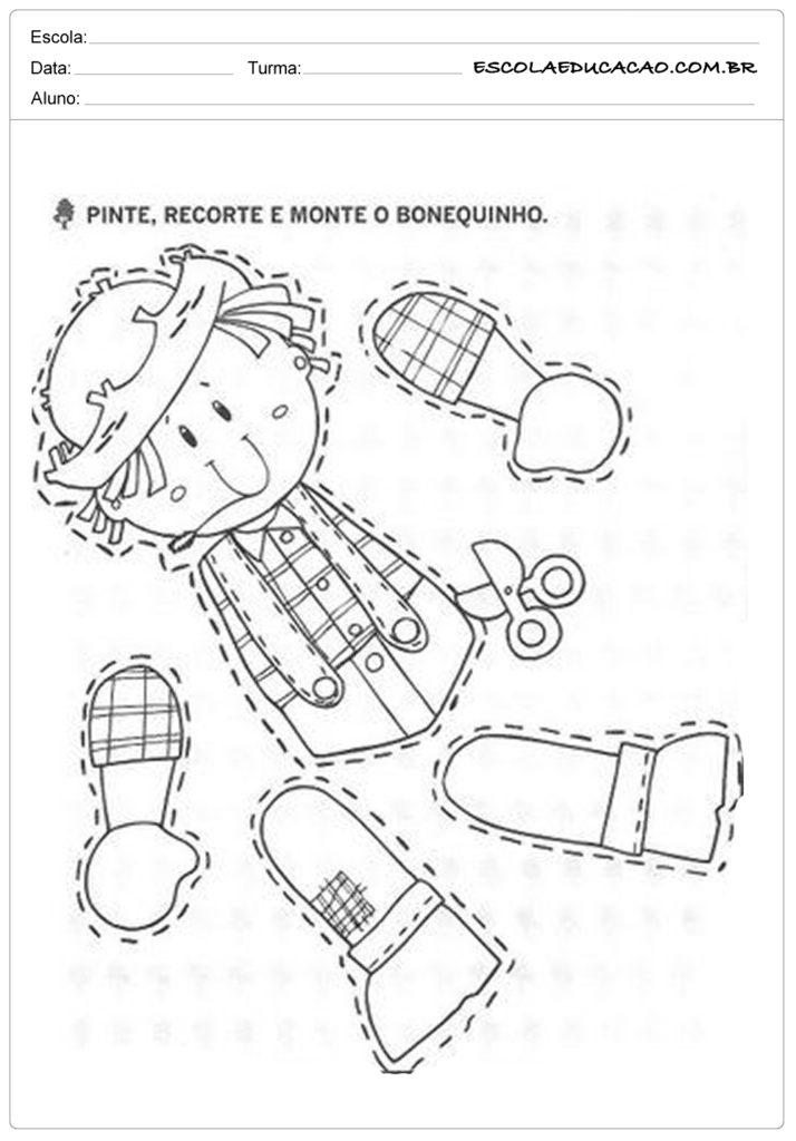 Atividades Festa Junina para Educação Infantil - Pinte, recorte e monte o bonequinho