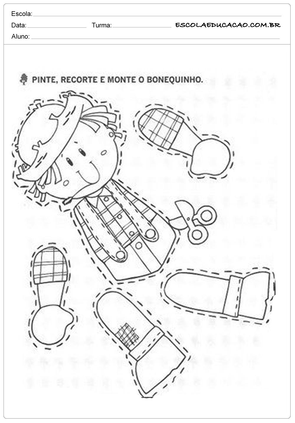 Atividades Festa Junina para Educação Infantil – Pinte, recorte e monte o bonequinho