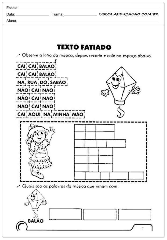 Atividades Festa Junina para Educação Infantil - Texto fatiado