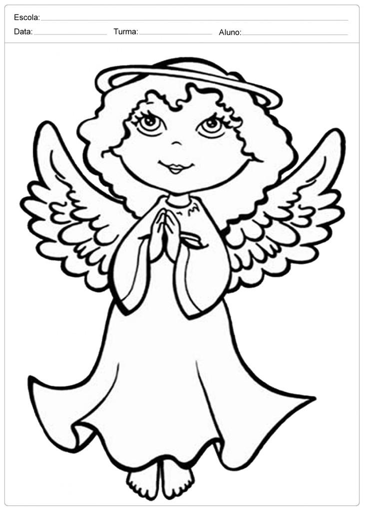 Anjo de Natal para Colorir - Anjinha