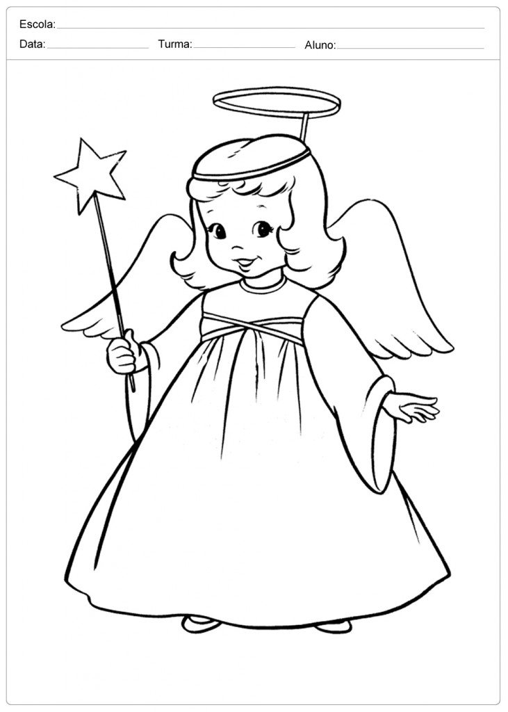 Anjo de Natal para Colorir - Anjinha de Natal