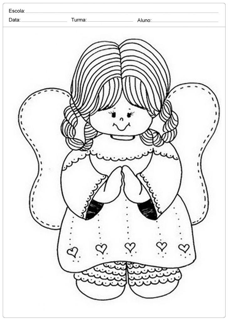 Anjo de Natal para Colorir - Anjinha Fofa