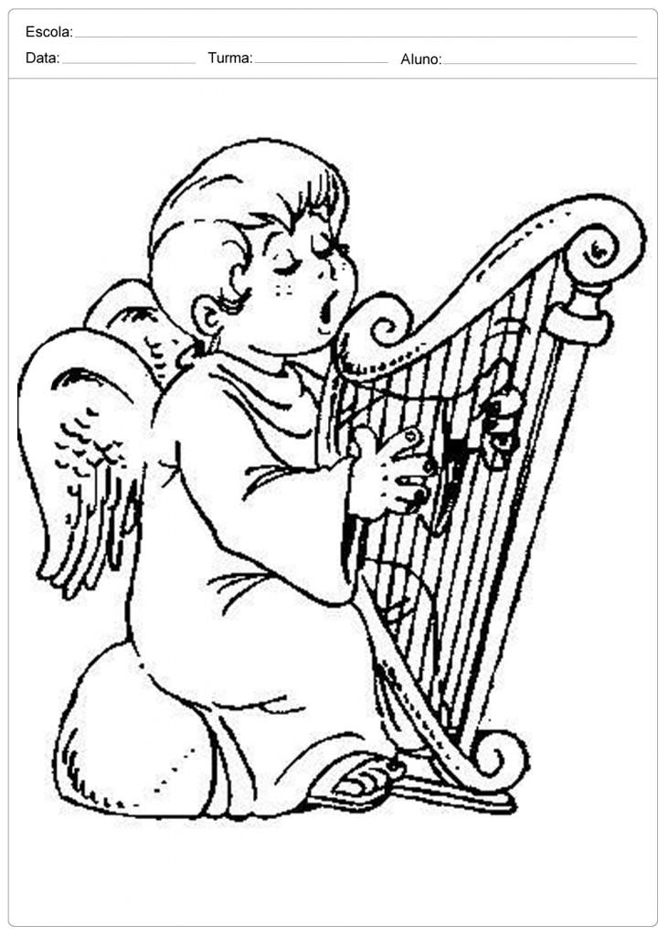 Anjo de Natal para Colorir - Anjo e a Harpa