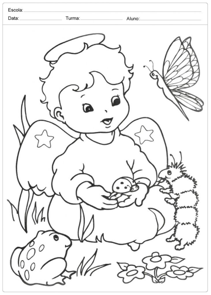 Anjo de Natal para Colorir - Anjo e os Animais