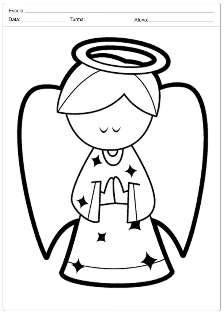 Anjo de Natal para Colorir - Anjo Pensativo