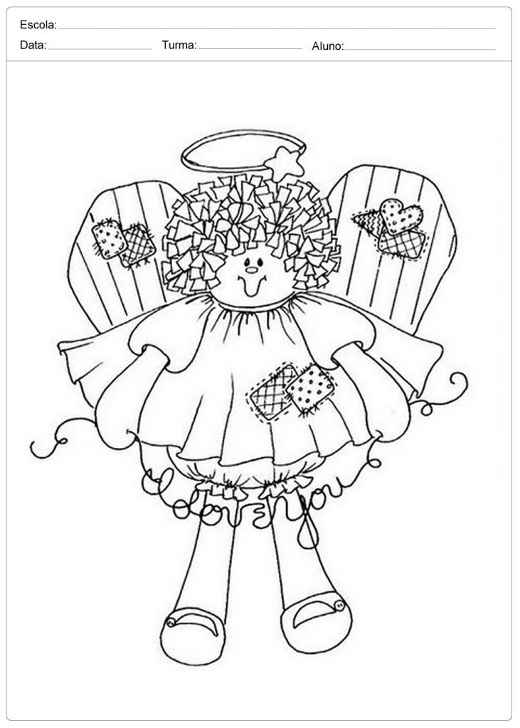 Anjo de Natal para Colorir - Boneca