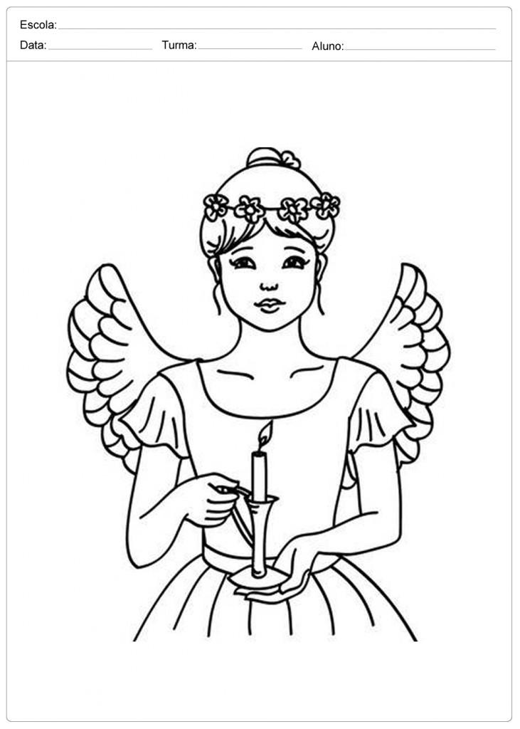 Anjo de Natal para Colorir - Linda Anja