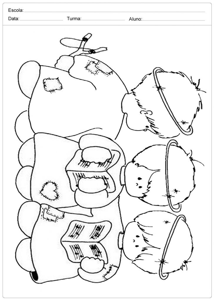 Anjo de Natal para Colorir - Três Anjinhos