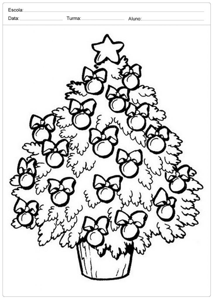 Árvores de Natal para Colorir - Árvore Enfeitada