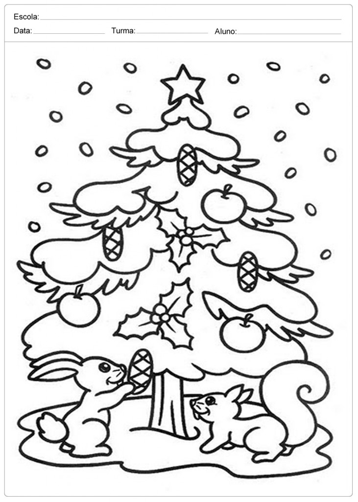 Árvores de Natal para Colorir - Coelhinhos de Natal