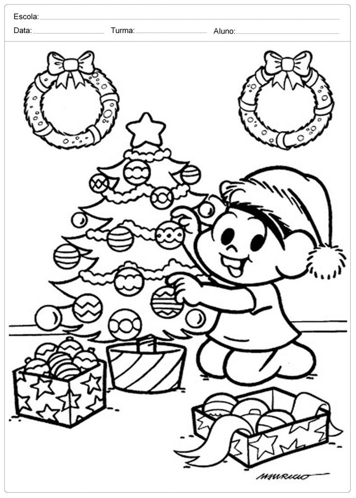 Árvores de Natal para Colorir - Turma da Mônica