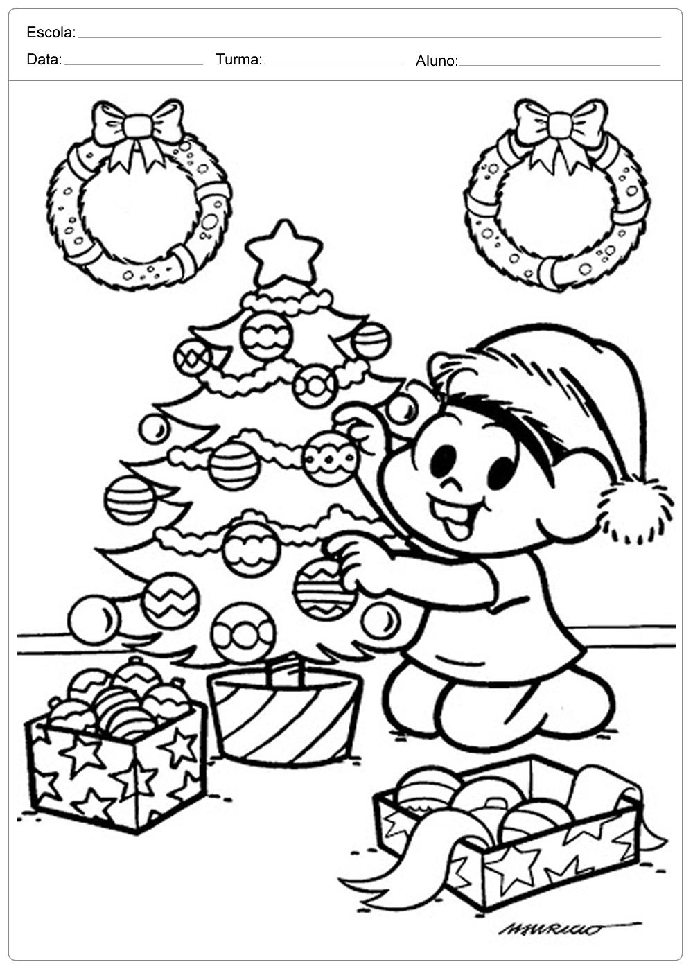 Arvores De Natal Para Colorir Turma Da Monica Escola Educacao