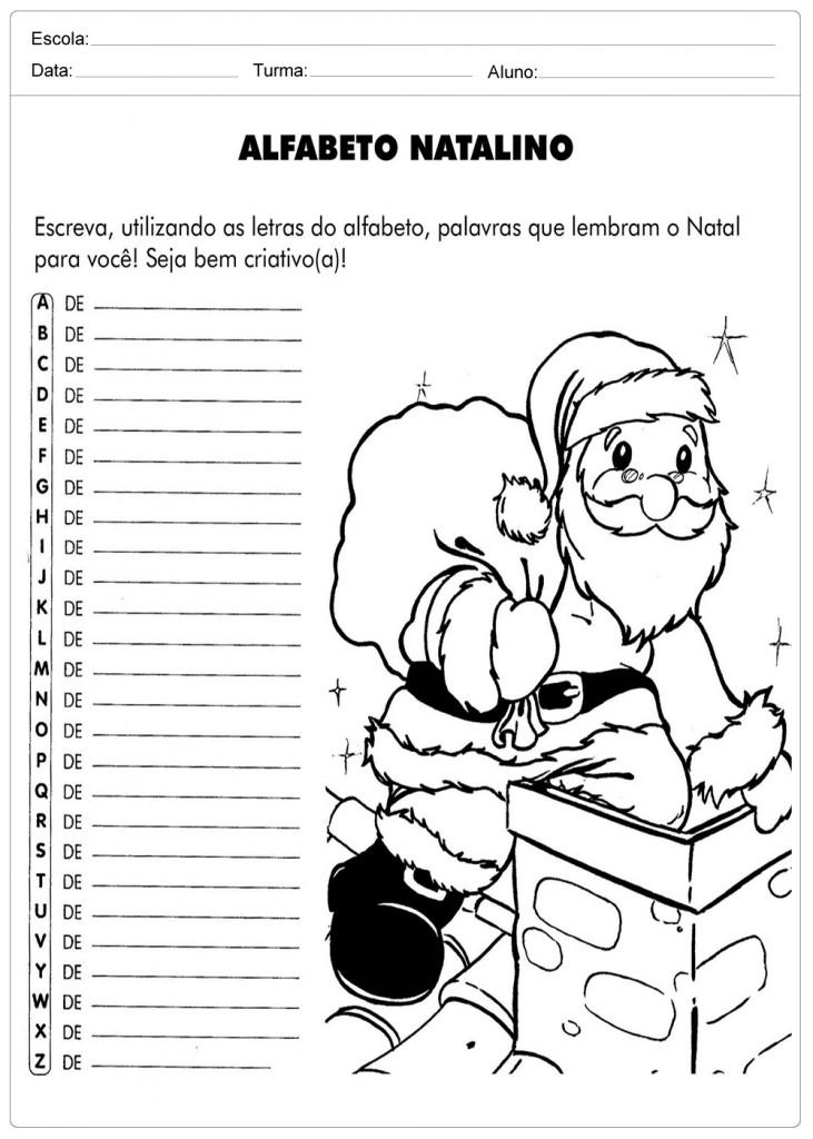 Atividades Escolares de Natal - Alfabeto Natalino
