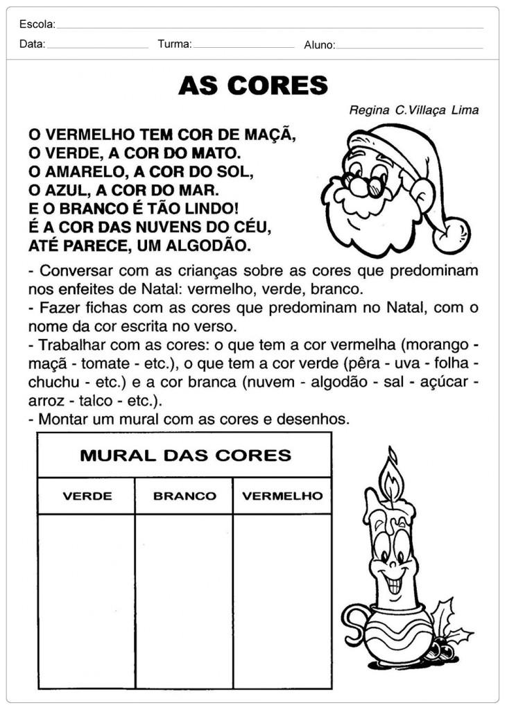 Atividades Escolares de Natal - As Cores