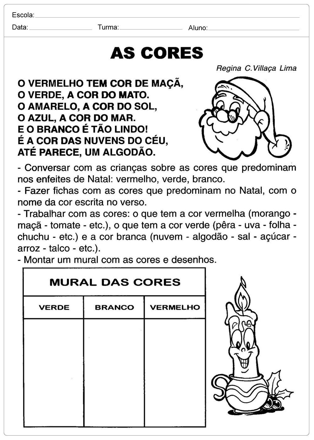 Atividades Escolares de Natal – As Cores