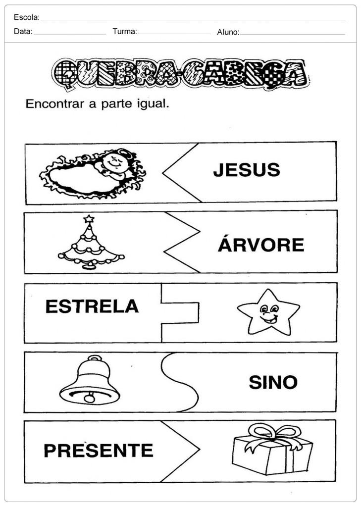 Atividades Escolares de Natal - Quebra Cabeças
