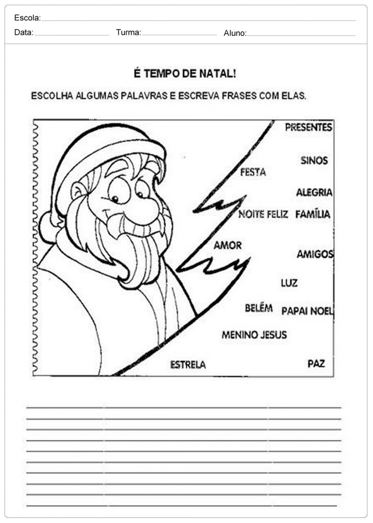 Atividades Escolares de Natal - Tempo de Natal