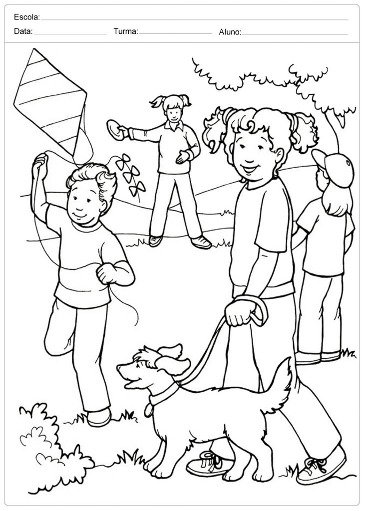 Crianças Brincando - Colorir - Dia das Crianças