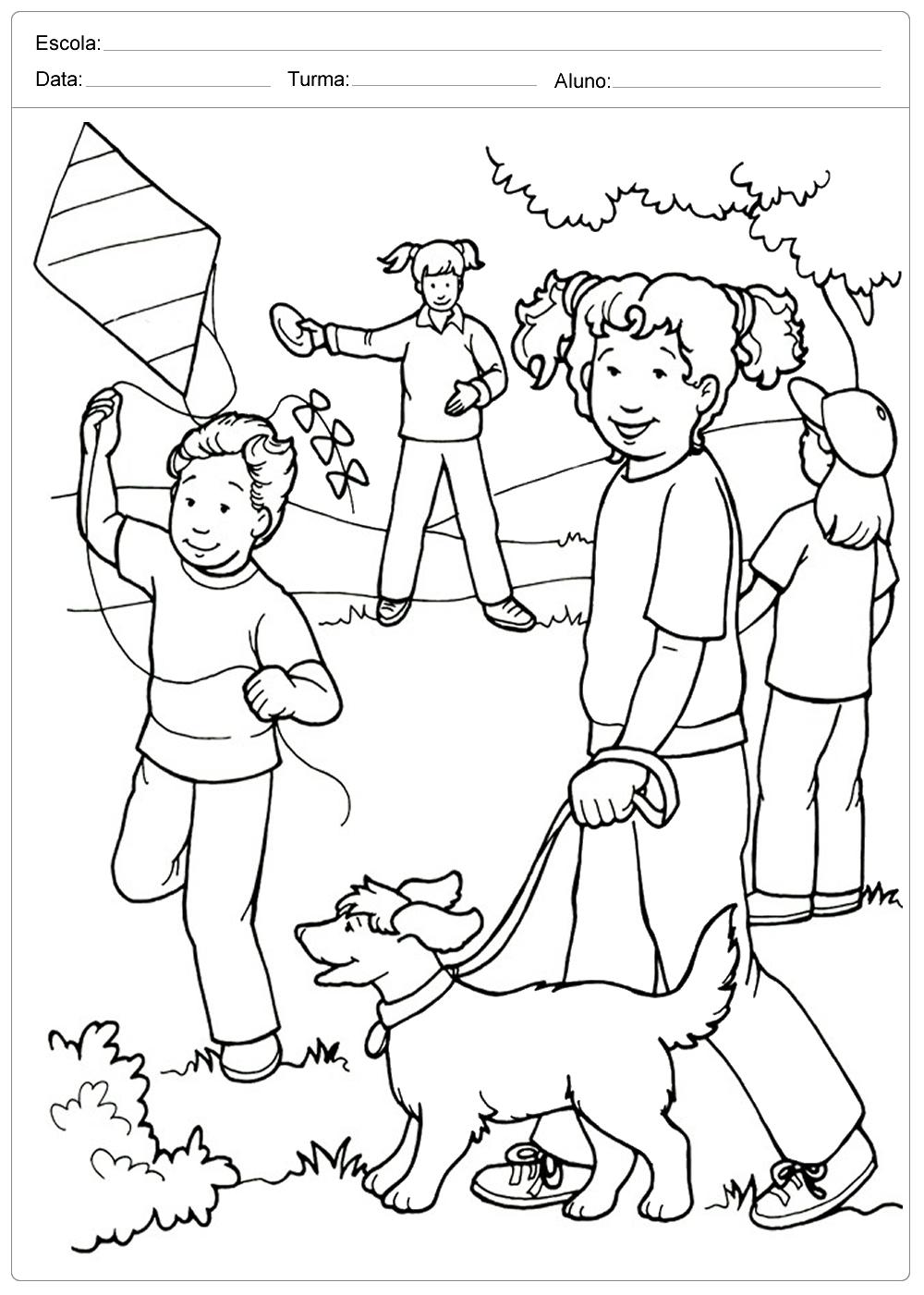 Criancas Brincando Colorir Dia Das Criancas Escola Educacao