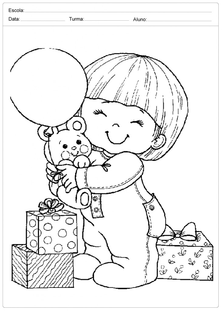 Desenhos para Colorir - Criança e Urso - Dia das Crianças