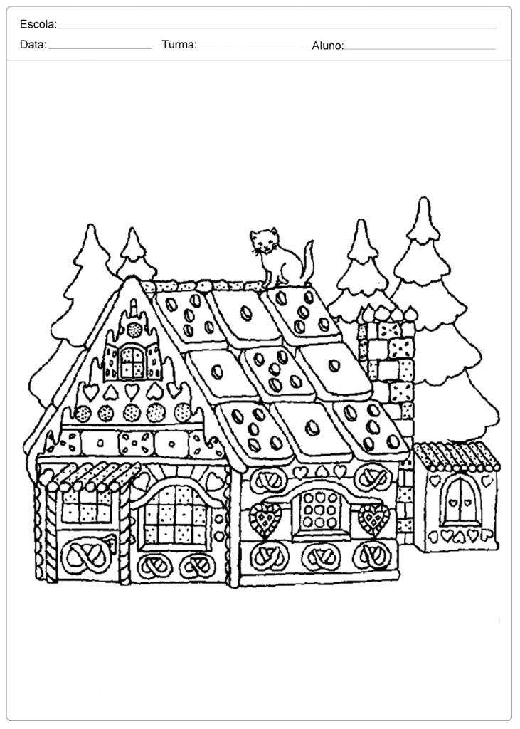 Desenhos de Natal para Colorir - Casa de Natal