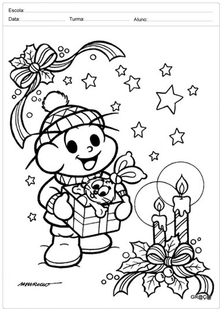 Desenhos de Natal para Colorir - Cebolinha
