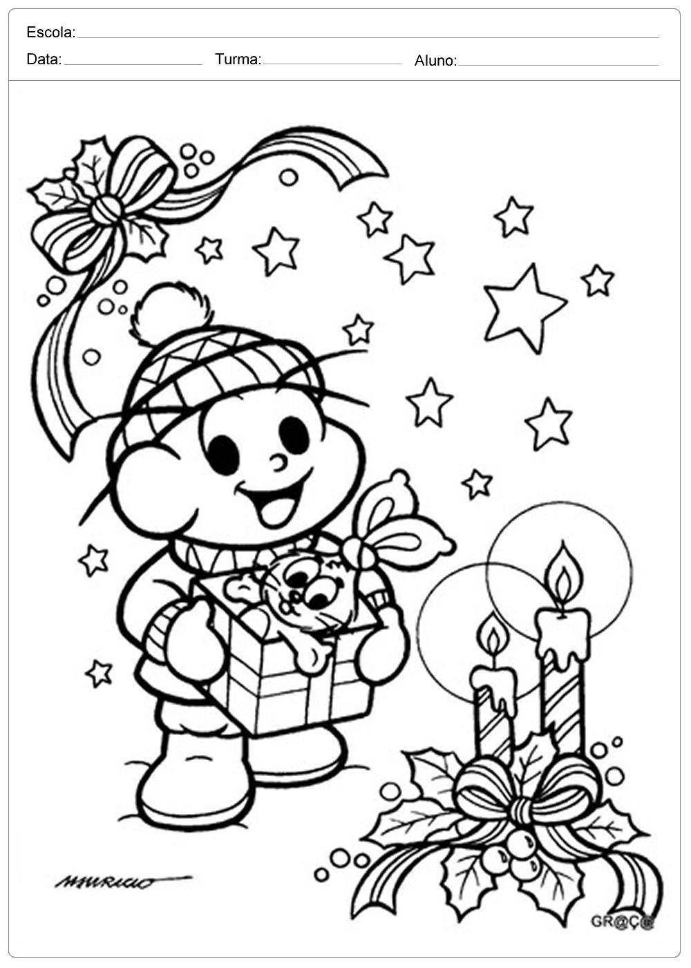 Desenhos de Natal para Colorir – Cebolinha