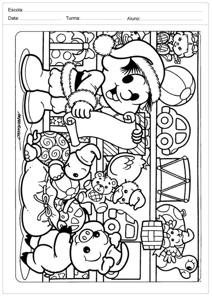 Desenhos de Natal para Colorir - Chico Bento