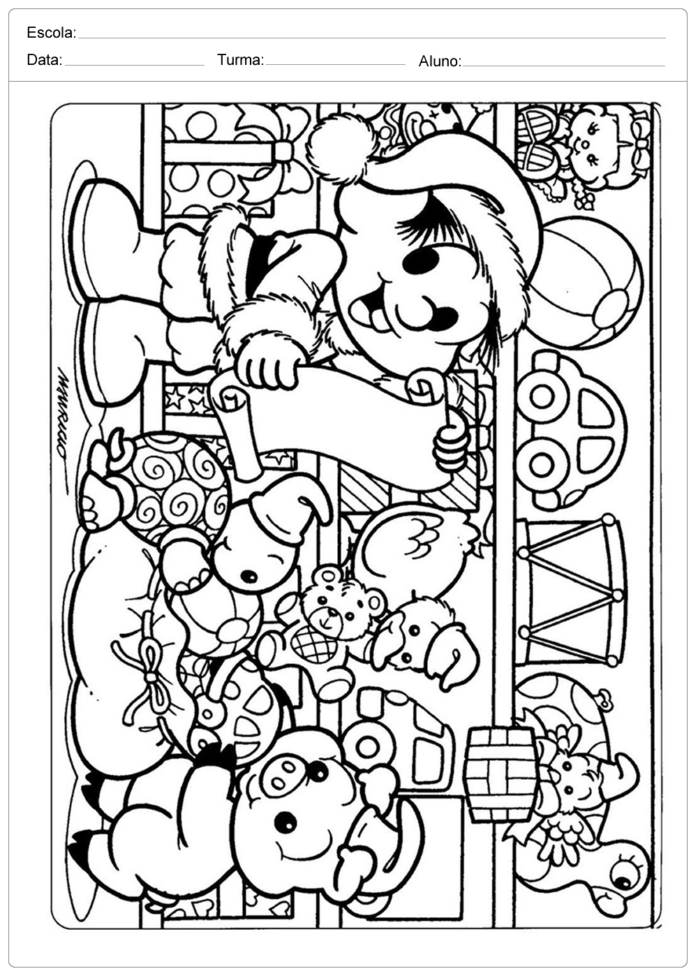 Desenhos de Natal para Colorir – Chico Bento