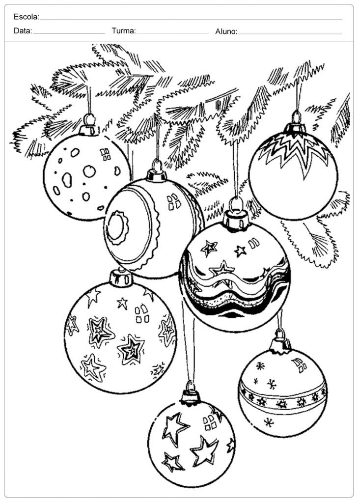 Desenhos de Natal para Colorir - Enfeites de Natal