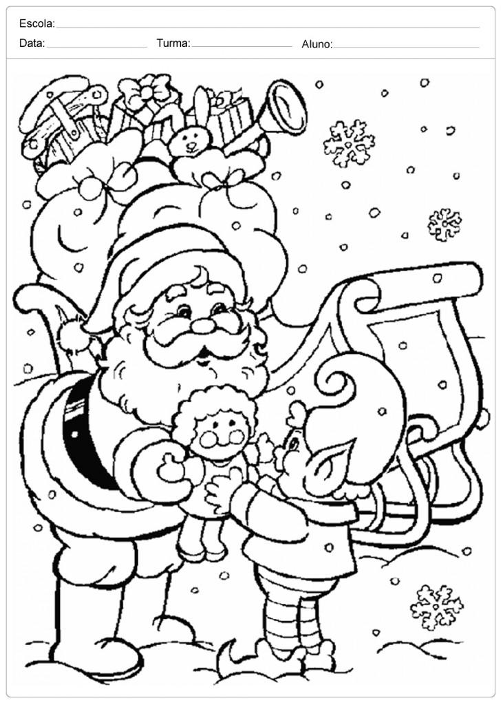 Desenhos de Natal para Colorir - Entrega de Presentes