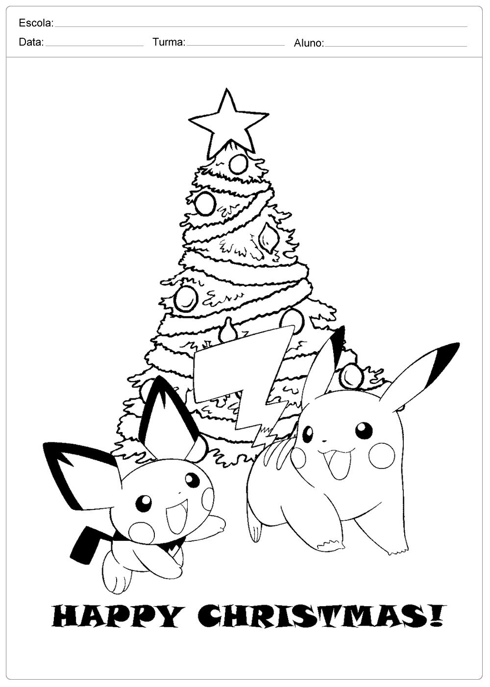 desenhos de natal para colorir pokemon escola educação