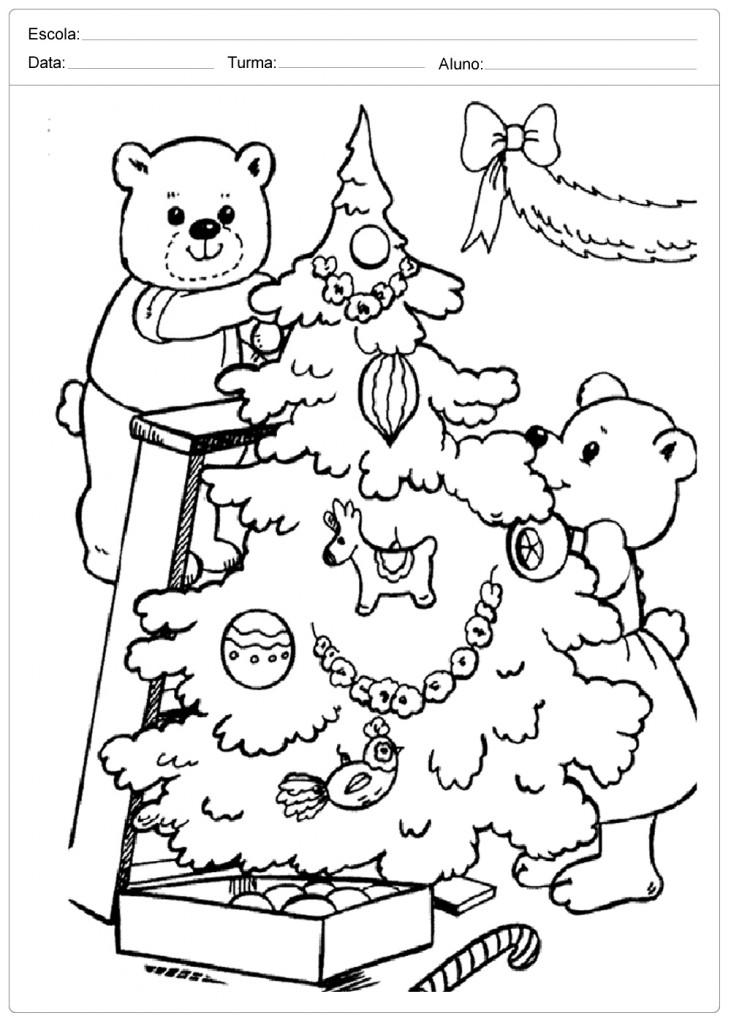 Desenhos de Natal para Colorir - Ursinhos