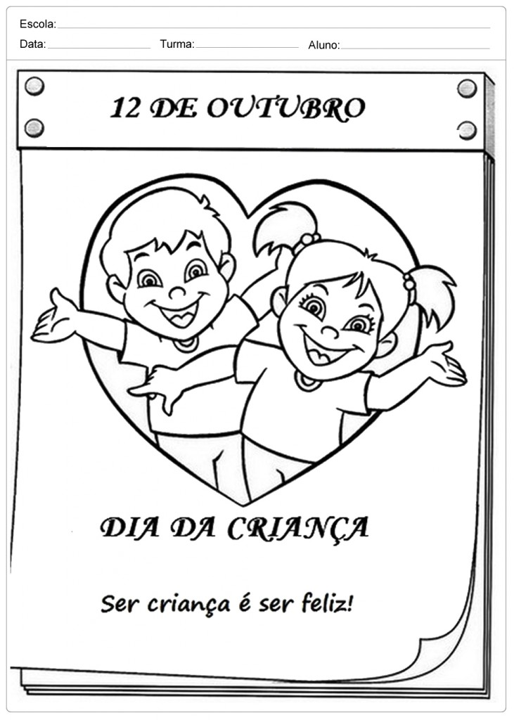 Dia das Crianças - Calendário - Para Colorir